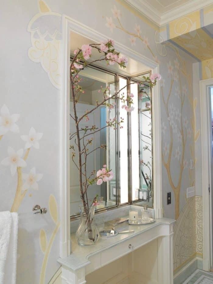 floral mural bathroom