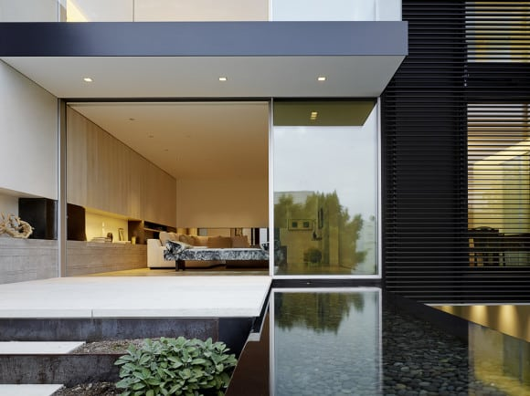 Architecture firm Aidlin Darling created a reflecting pool for this San Francisco home. The sound of the water helps disguise city noise.