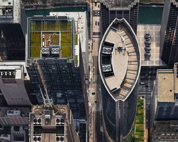 Brad Temkin's 2013 photograph, 111 S. Wacker Drive (from above, looking west), Chicago, IL, July, 2013. Offered by PDNB Gallery.