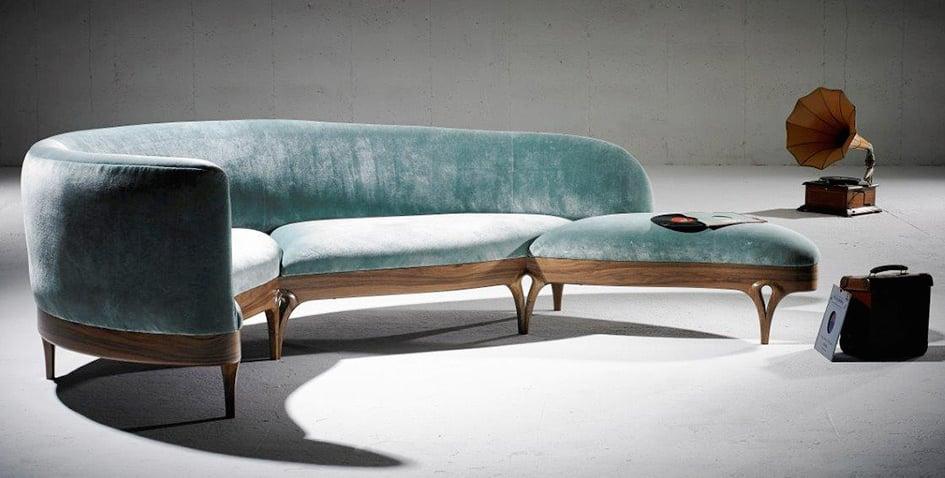 curved velvet sofa