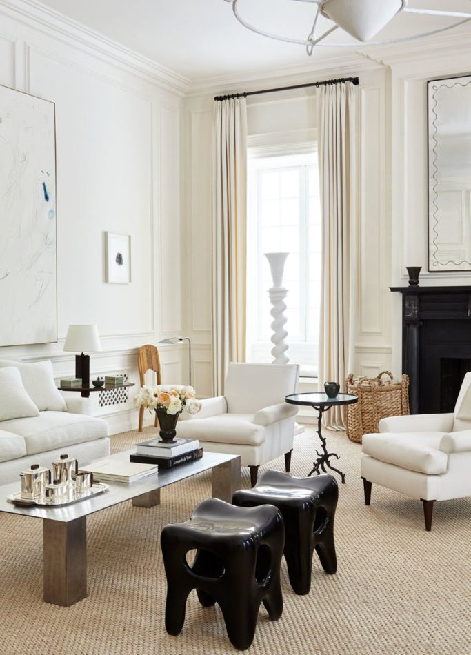 black stools in white room by Kapito Interiors