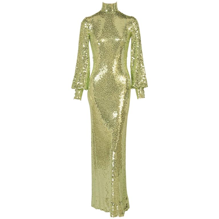 Norman Norell gold sequined mermaid gown