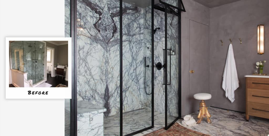 Brentwood neoclassical bathroom transformation by Studio Hus.