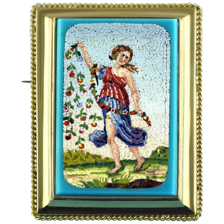 Victorian micro-mosaic brooch depicting the goddess Flora, ca. 1850