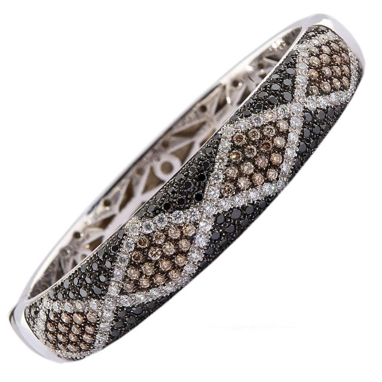 black chocolate and white diamond bracelet