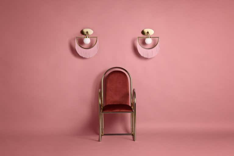 Masquespacio for Houtique Wink wall lamps with pink fringe