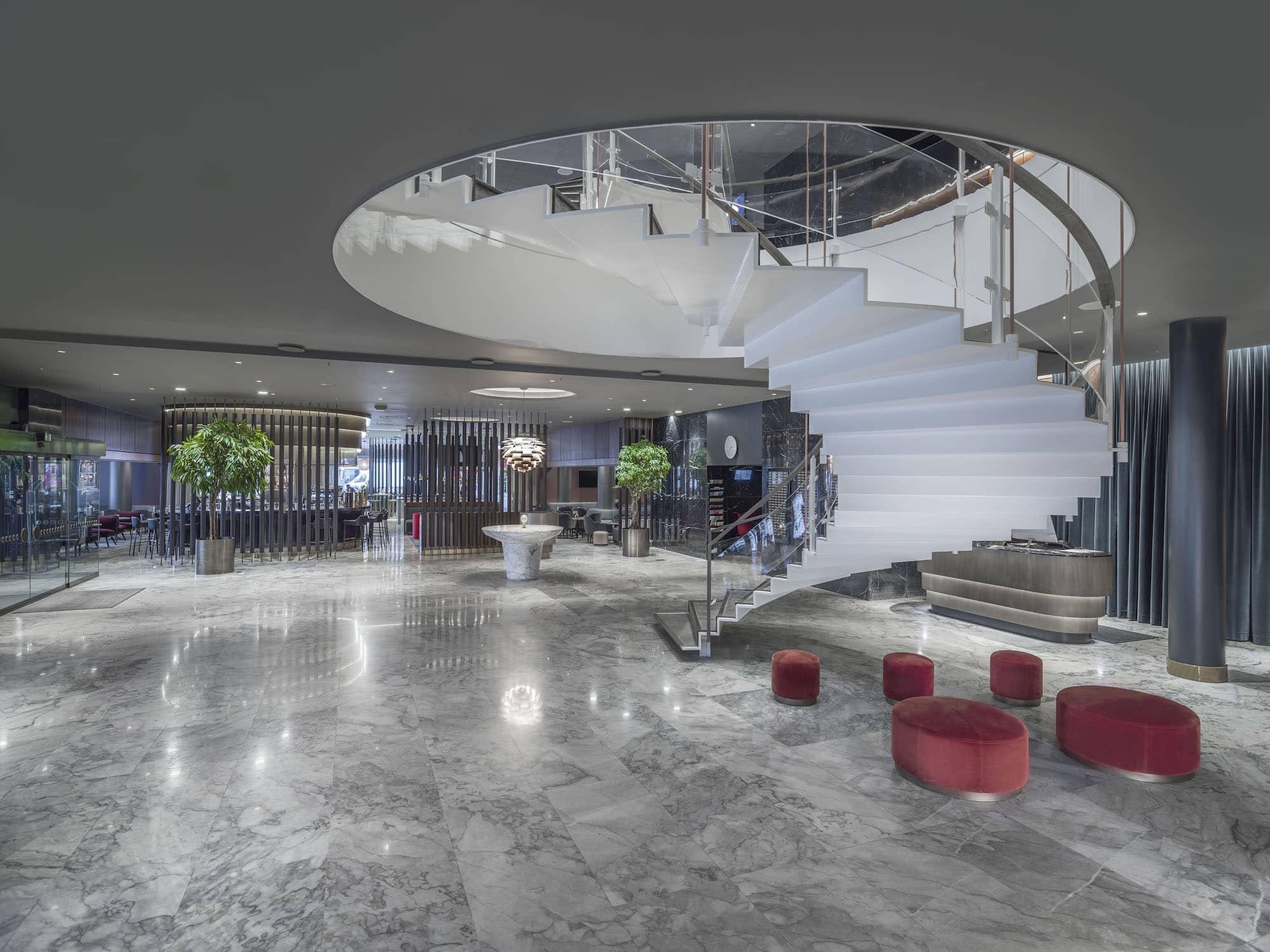 The lobby of the Radisson Blu Royal Hotel in Copenhagen designed by Arne Jacobsen