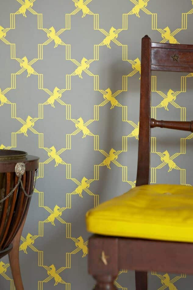 Horse Trellis' Contemporary, Traditional Wallpaper in Acid on Grey by Barneby Gates