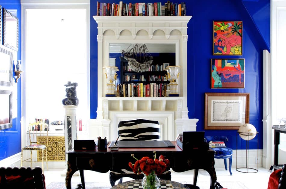 blue and white office by Sasha Bikoff