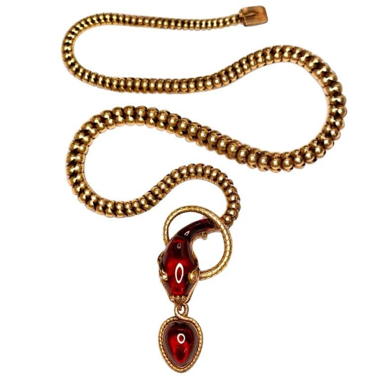 Victorian garnet, gold and diamond snake pendant necklace, 1850s