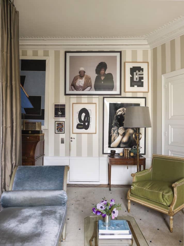 gallery wall in Jamie Creel's Paris bedroom
