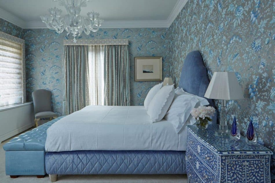 blue and white bedroom by John Barman
