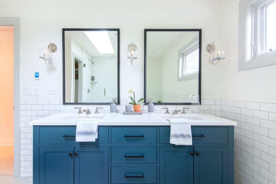 blue and white bathroom by Emily Tucker