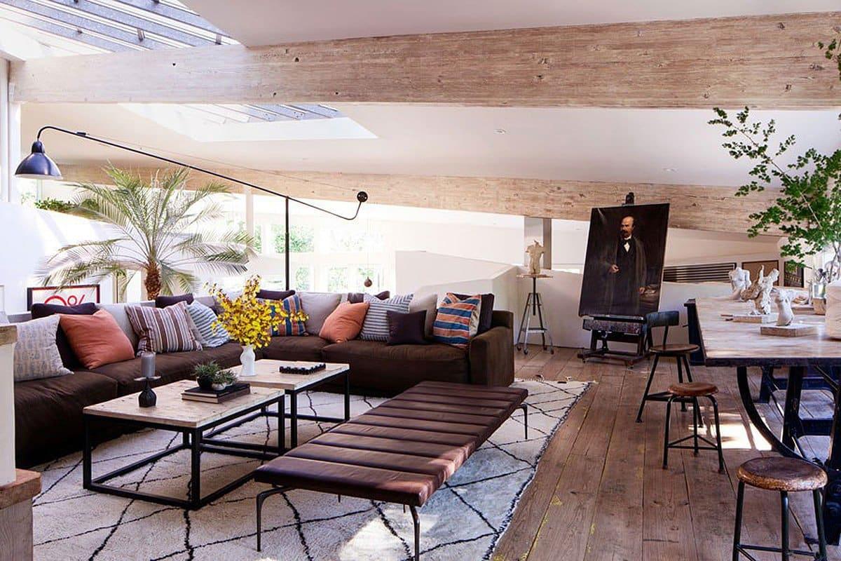 The art studio of Patrick Dempsey's Malibu family house with revamped interiors by Estee Stanley of Hancock Design.