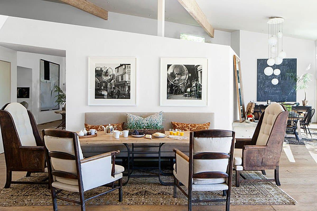 The dining room of Patrick Dempsey's Malibu family house with revamped interiors by Estee Stanley of Hancock Design.