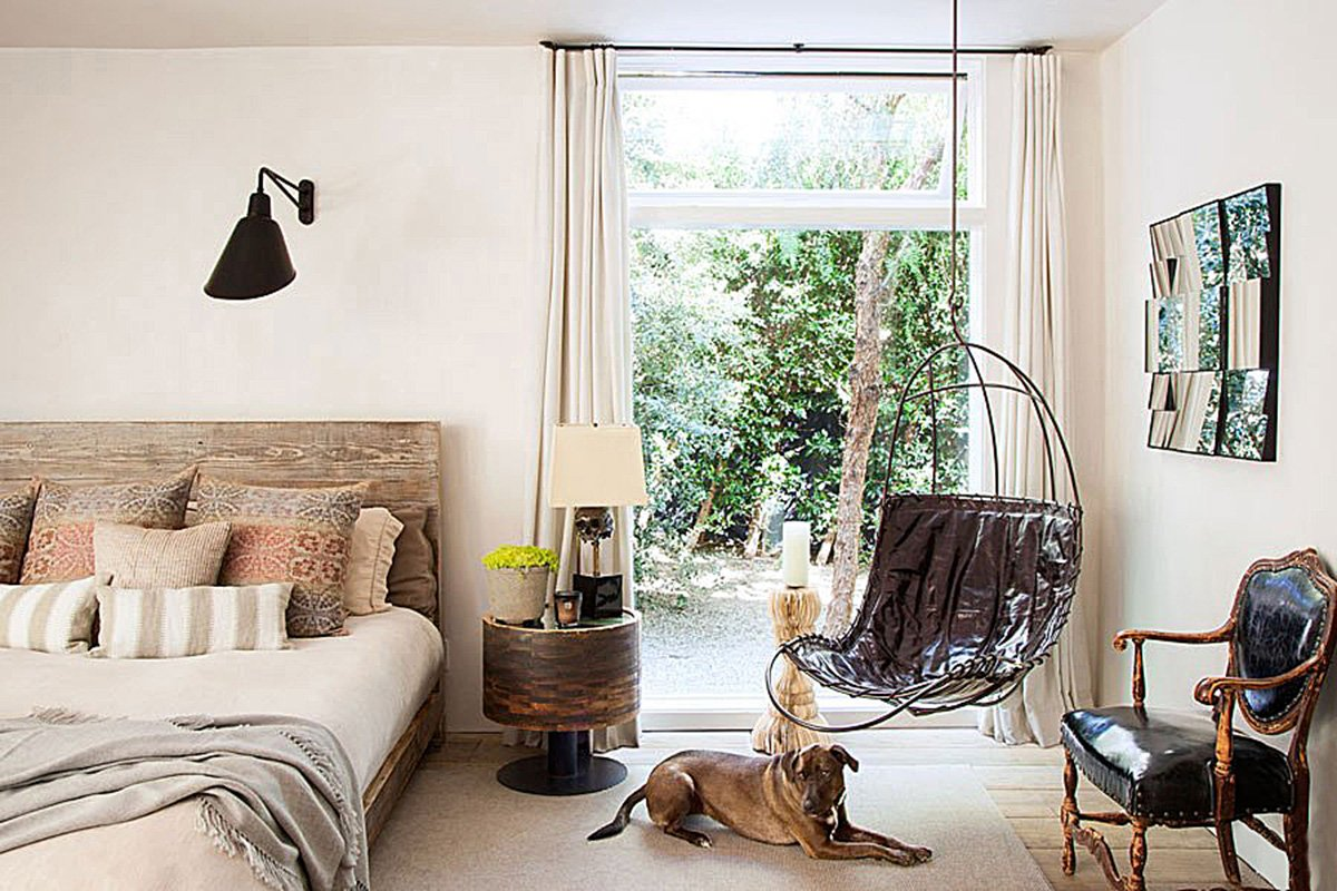 The master bedroom of Patrick Dempsey's Malibu family house with revamped interiors by Estee Stanley of Hancock Design.