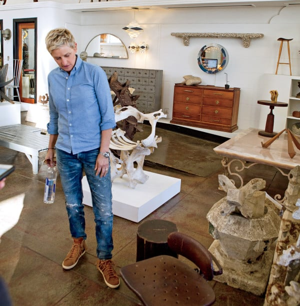 Ellen DeGeneres shopping at 1stdibs dealer The Window on Melrose Avenue in Los Angeles. Photo by Joanna DeGeneres