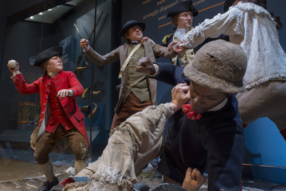 Tableau of British loyalists and American rebels in the middle of a brawl.
