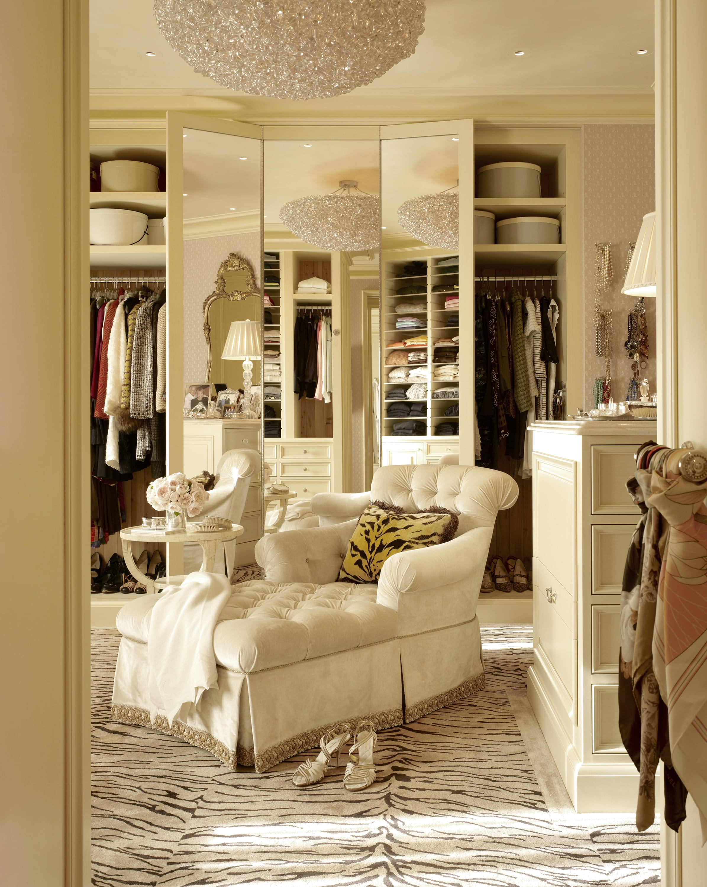 Dressing room in a 6,000-square-foot apartment with a traditional decor.