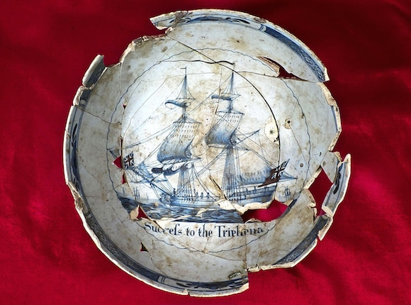 English ceramic punch bowl decorated with the ship Triphena, 1760s