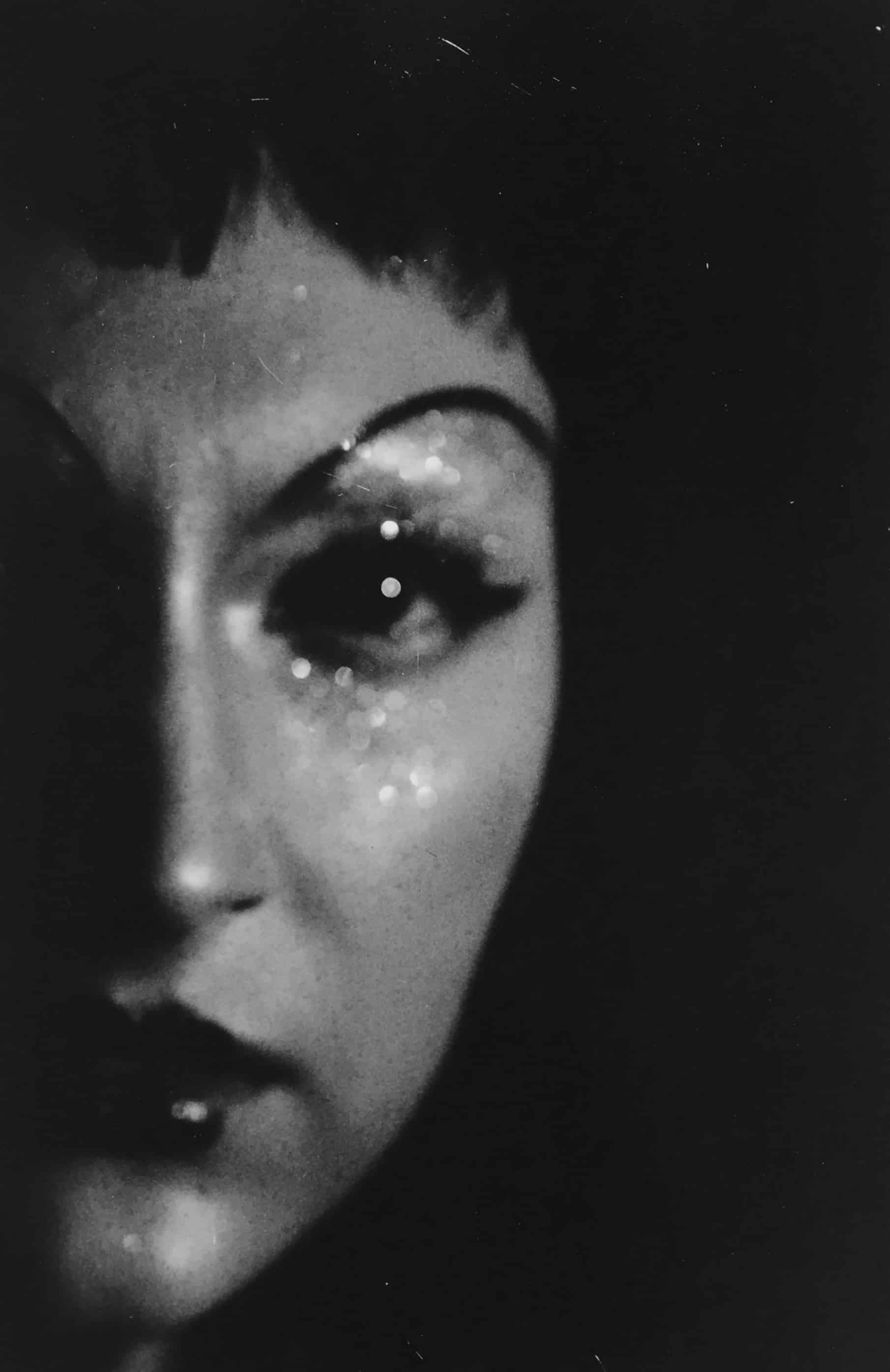 woman's face in black and white