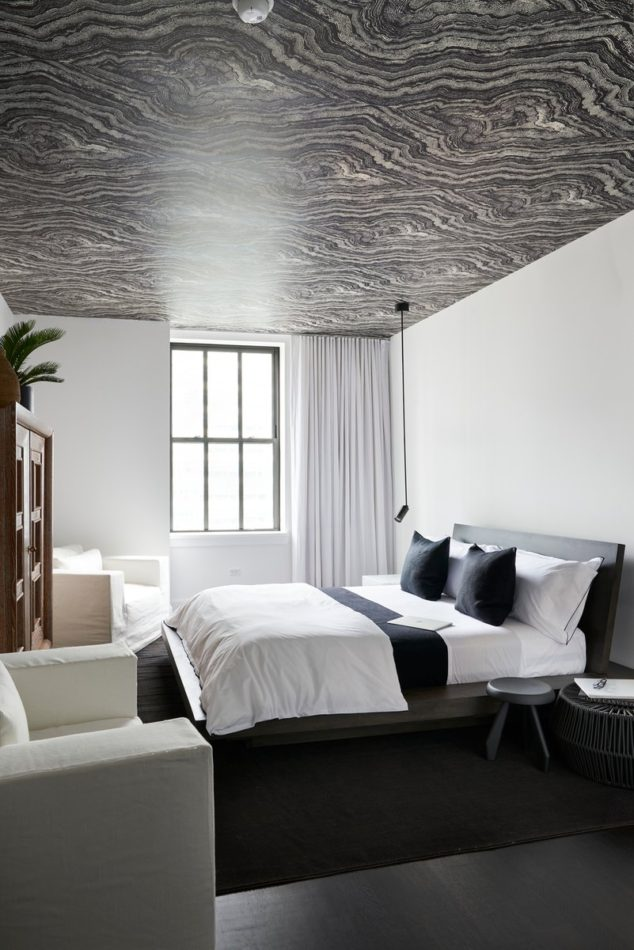 black and white wallpapered bedroom ceiling by Timothy Godbold