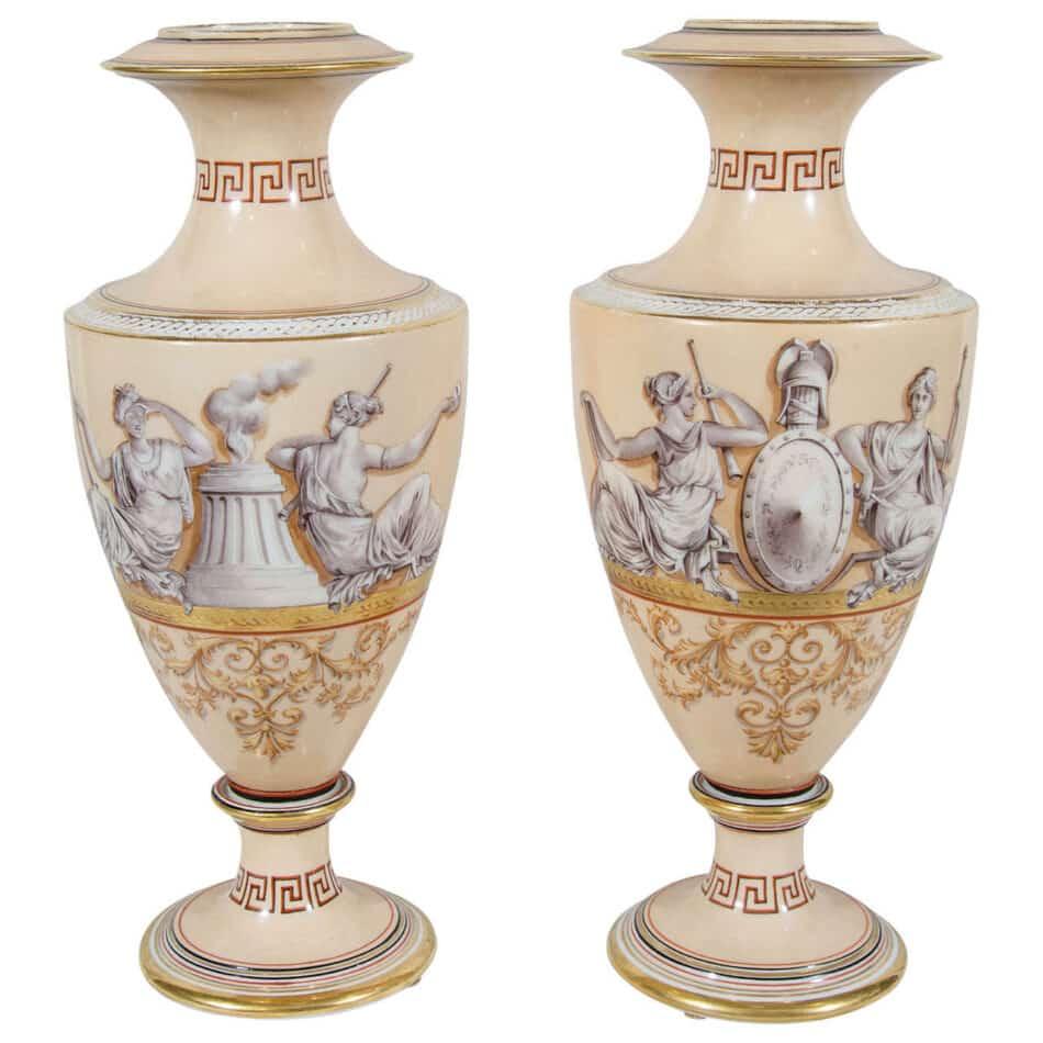 Greek key vases