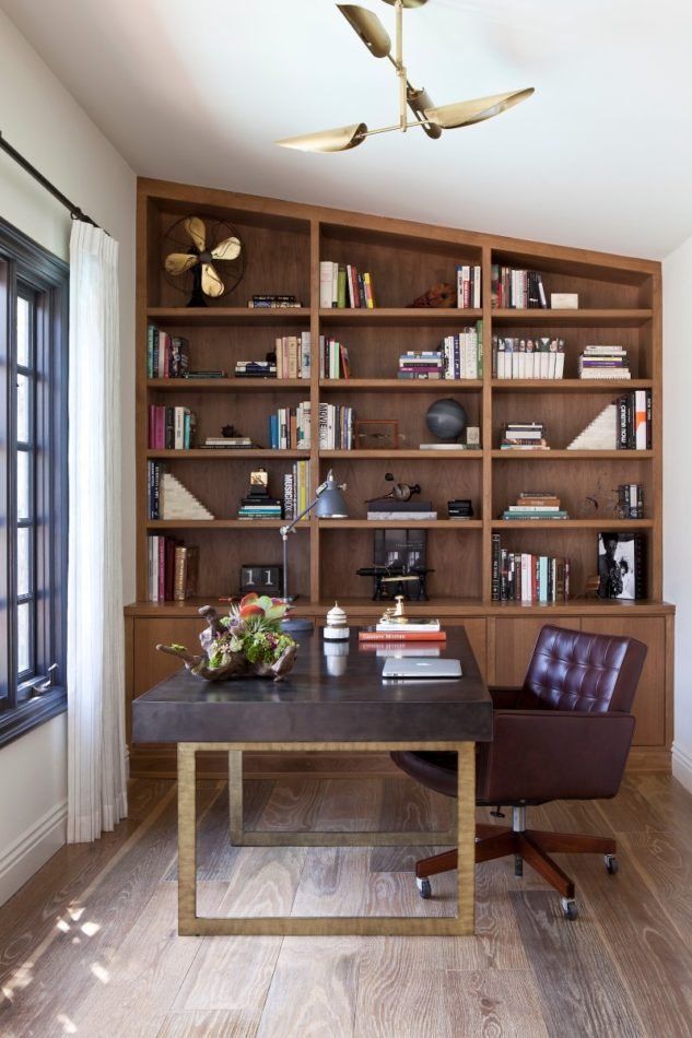 office with bookcases by Brown Design Group