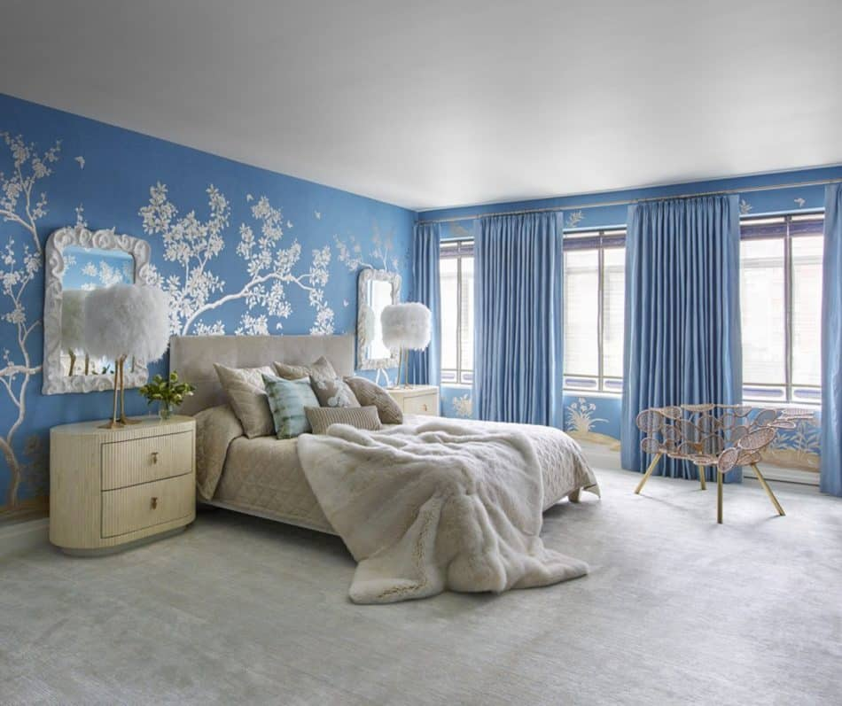blue and white bedroom by Kelly Behun