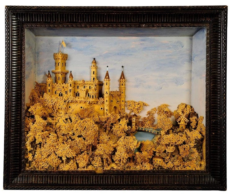Cork Carving of Castle Scene, circa 1880