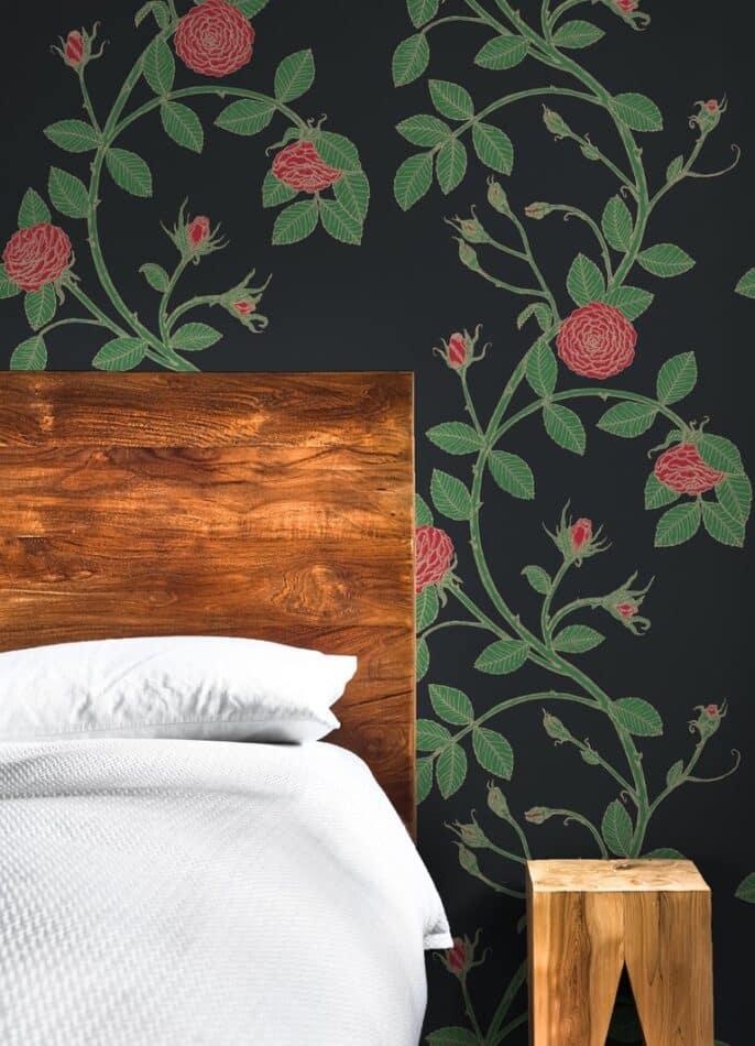 Elva Rose-Floral Print in Color Bella 'Black ground Red Floral by Merenda Wallpaper
