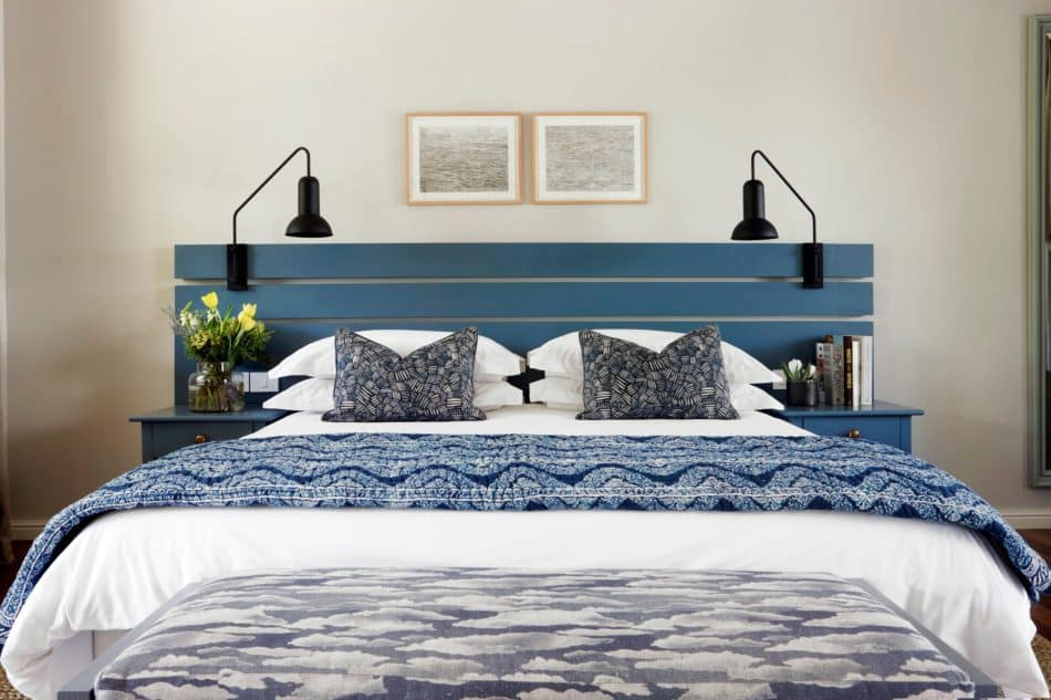 blue and white bedroom by Studio Ashby