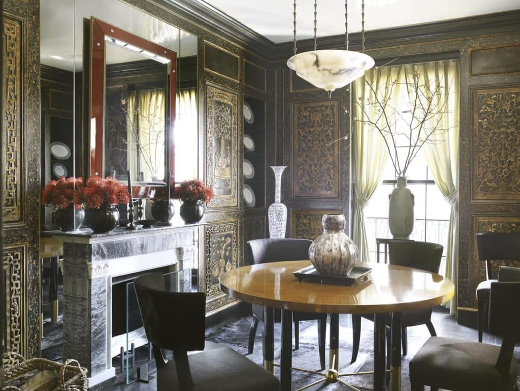 dining room fireplace by David Kleinberg